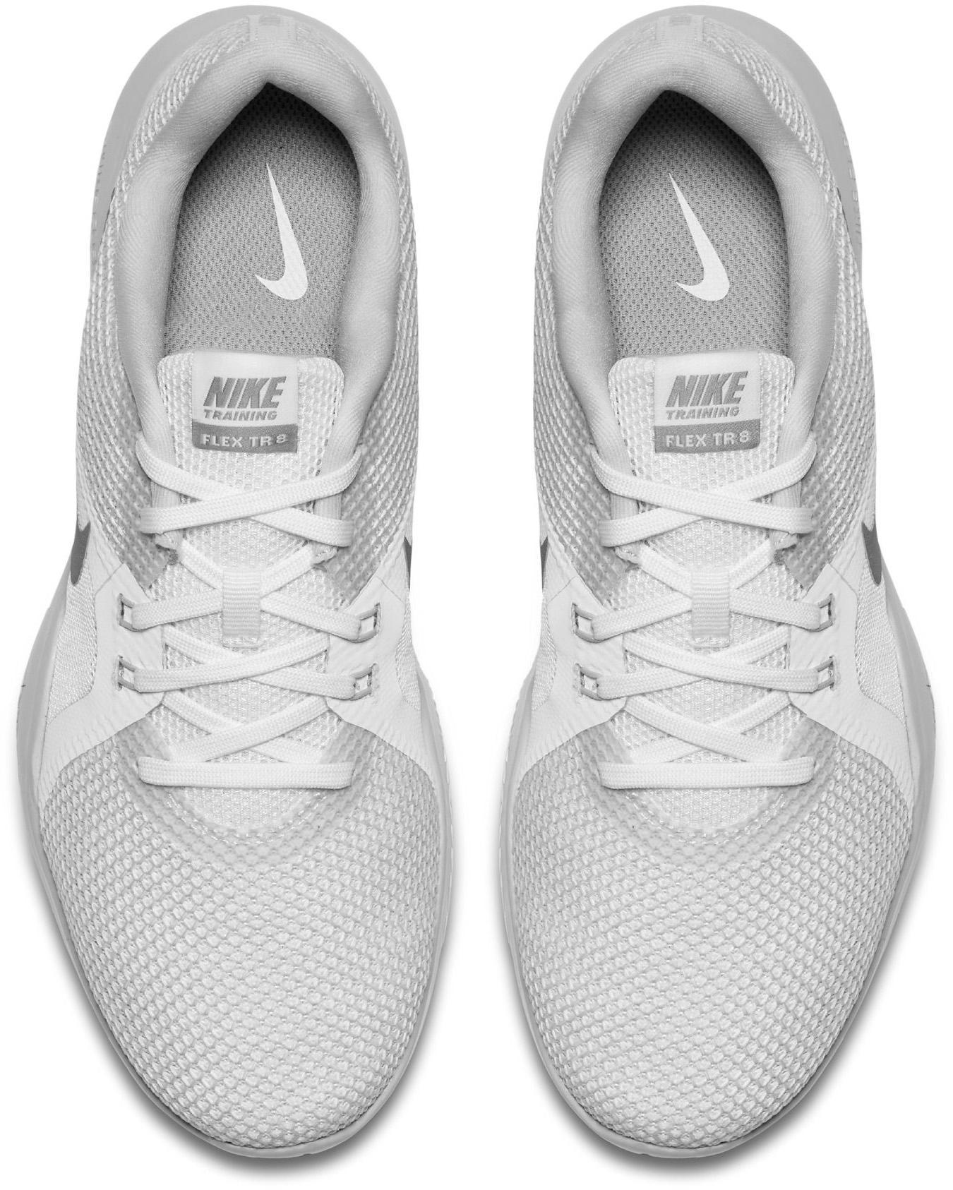 20e328c8b3cb Nike Flex Trainer 8 Fitnessschuhe Damen white silver-pure platinum-wolf grey  im Online Shop von SportScheck kaufen