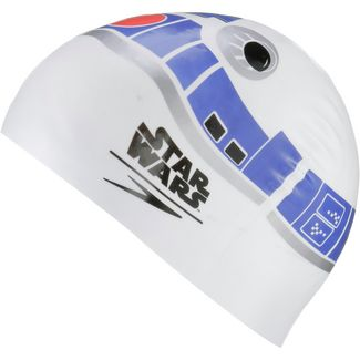SPEEDO SLOGAN PRT CAP JU WHITE/BLUE Badekappe Kinder WHITE/NORTHERN/SILVER/RISK RED
