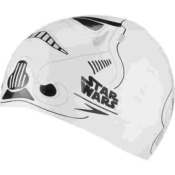 SPEEDO SLOGAN PRT CAP JU WHITE/GREY Badekappe Kinder white-usa charcoal-black
