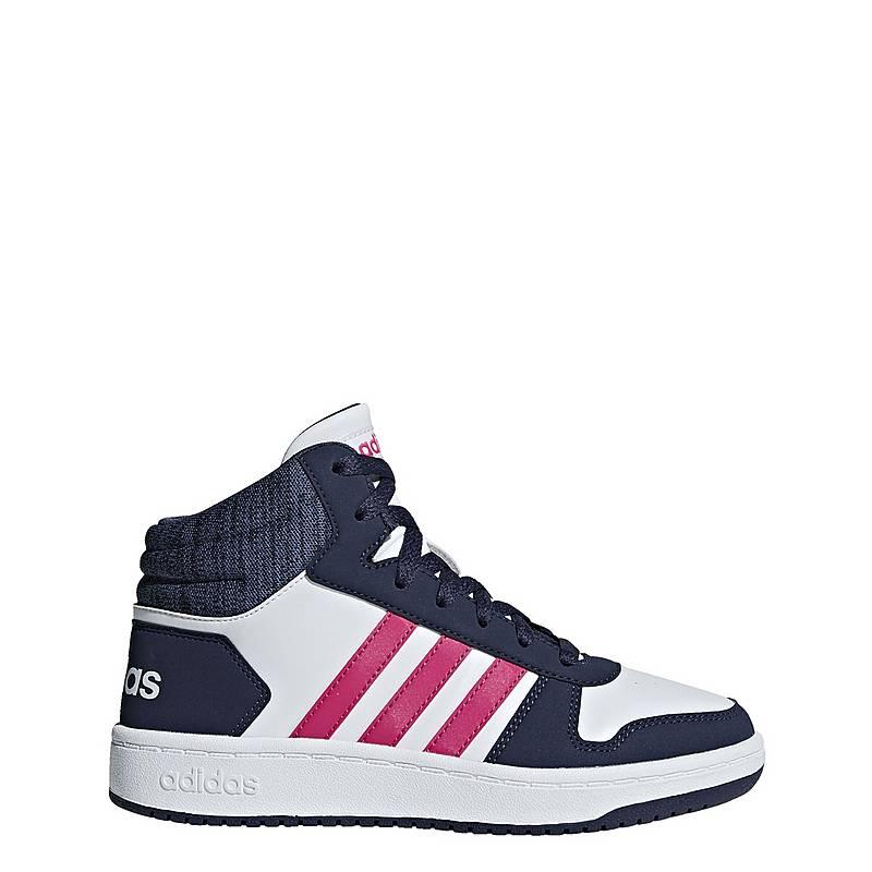 the latest c74b9 4851c adidas Hoops 2.0 Mid Basketballschuhe Kinder Ftwr White  Real Magenta   Trace Blue
