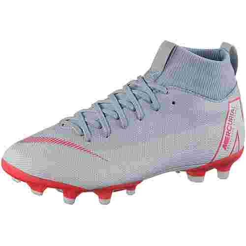 Nike MERCURIAL JR SUPERFLY 6 ACADEMY GS MG Fußballschuhe Kinder wolf grey-lt crimson-pure platinum-mtlc silver