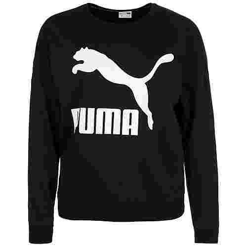 PUMA Classics Logo Crew Sweatshirt Damen schwarz / weiß
