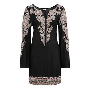 Lascana Jerseykleid Damen schwarz bedruckt
