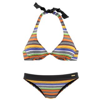 BRUNO BANANI Bikini Set Damen schwarz-orange