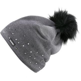 Eisbär Dip Dye Bommelmütze Damen graumele bedruckt mit schwarz