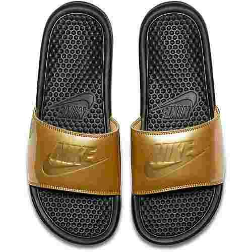 Nike Slide Benassi JDI Badelatschen Damen black-metallic gold