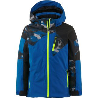 Spyder Skijacke Kinder turkish sea-camo distress blue print-black