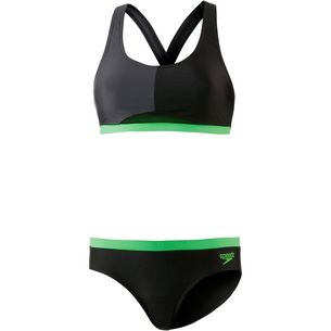 SPEEDO Bikini Set Damen black oxidgrey fakegreen