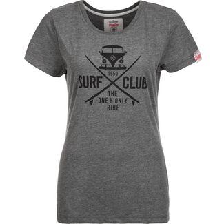 VAN ONE Surf Club T-Shirt Damen dunkelgrau / schwarz