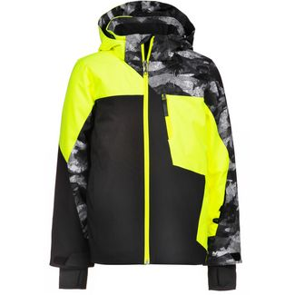 Spyder Skijacke Kinder black-bryte yellow-camo distress print