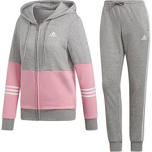 adidas Trainingsanzug Damen medium grey heather-true pink-white im Online Shop von SportScheck kaufen