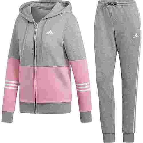 adidas Trainingsanzug Damen medium grey heather-true pink-white