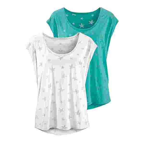 BEACH TIME Shirt Doppelpack Damen mint + weiß