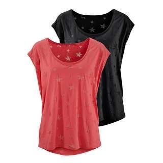 BEACH TIME Shirt Doppelpack Damen koralle + schwarz