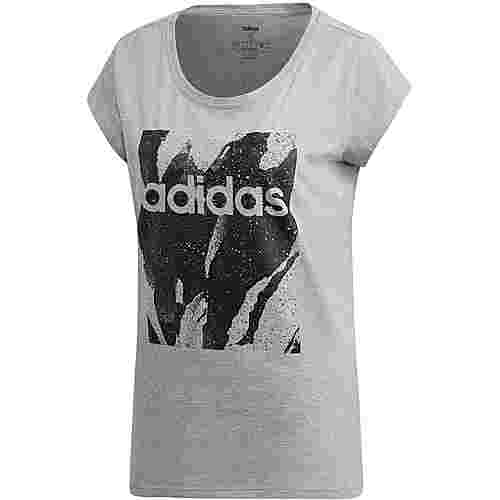 adidas Essential E AOP urr TEEip T-Shirt Damen medium grey heather