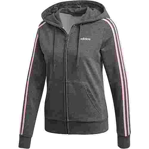 adidas Essential 3S Full Zip Sweatjacke Damen dark grey heather