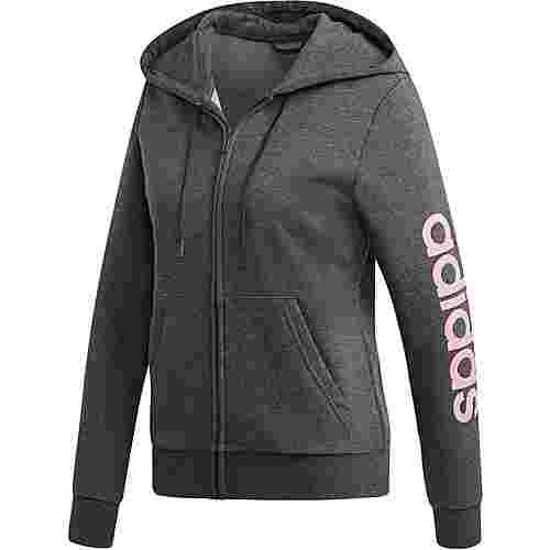 adidas Essentials Linear Sweatjacke Damen dark grey heather