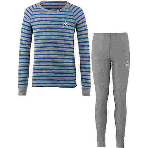 Odlo Wäscheset Kinder grey melange-energy blue-stripes