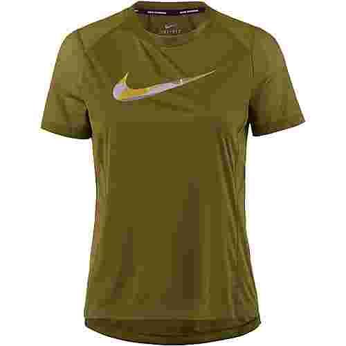 Nike Miler Funktionsshirt Damen olive flak/reflective silver