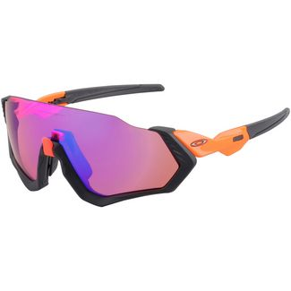 Oakley Flight Jacket Sportbrille neon orange/prizm trail