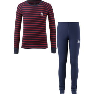 Odlo Wäscheset Kinder diving navy-hibiscus-stripes