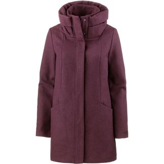 TOM TAILOR Wollmantel Damen dark wine red mélange