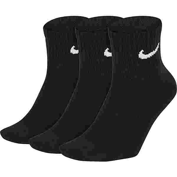 Nike ONE QARTERS Socken Pack black-white