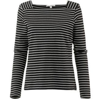 TOM TAILOR Langarmshirt Damen black with white stripe