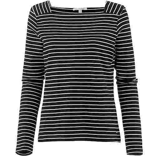 TOM TAILOR Langarmshirt Damen black with white stripe