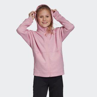 71fc46b1ae175 adidas ID Stadium Hooded Trainingsjacke Hoodie Kinder True Pink / Grey Six  / Black