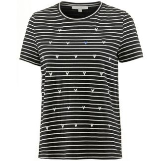 TOM TAILOR T-Shirt Damen black with white stripe