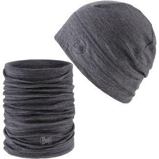 BUFF MERINO Set aus Mütze und Schal heather grey