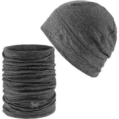 BUFF MERINO Set Mütze und Schal heather grey