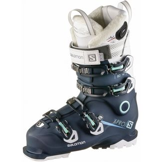 Salomon X PRO 80W Custom Heat Connect Skischuhe Damen Petrol Blue-White-Aruba Blue