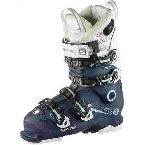 Salomon X PRO 80W Custom Heat Connect Skischuhe Damen Petrol Blue-White-Aruba Blue