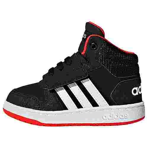 adidas Hoops 2.0 Mid Schuh Sneaker Kinder Core Black / Cloud White / Hi-Res Red
