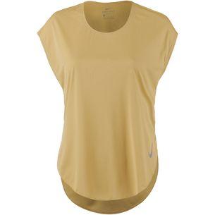 Nike City Sleek Laufshirt Damen club gold-reflective silver