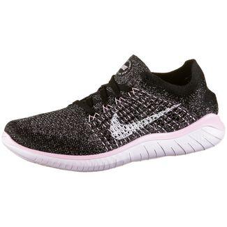 Nike Free Run Flyknit Laufschuhe Damen black-white-pink foam