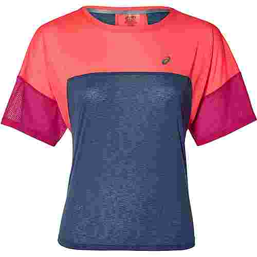 ASICS Laufshirt Damen grand shark-flash coral