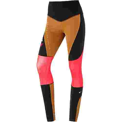 Nike Sport Distort Tights Damen wheat-black-ember glow-white
