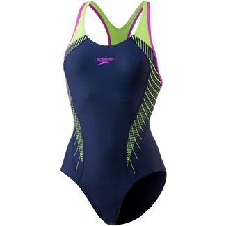 SPEEDO Fit Laneback Schwimmanzug Damen navy-green