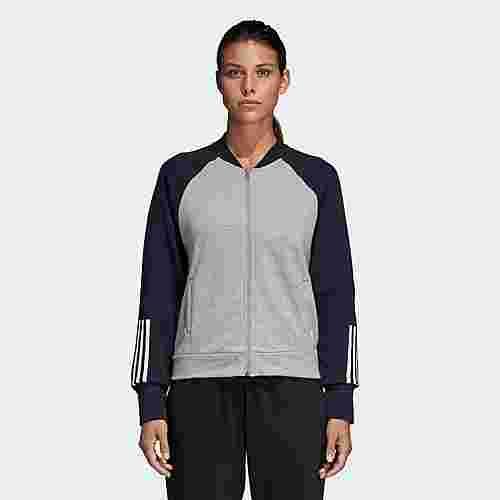 adidas Sport ID Bomberjacke Sweatjacke Damen Medium Grey Heather / Legend Ink