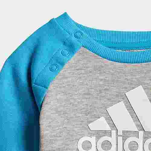 adidas French Terry Jogginganzug Trainingsanzug Kinder Medium Grey Heather / Shock Cyan / White