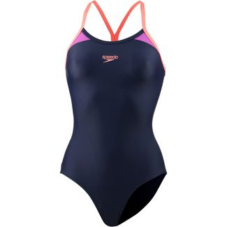 SPEEDO Thinstrap Racerback Schwimmanzug Damen navy-orange