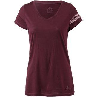 OCK V-Shirt Damen weinrot