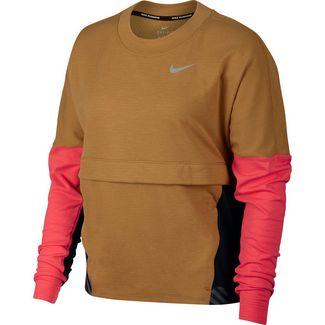 Nike Therma Sphere Laufshirt Damen wheat-blavk-ember glow-reflective silver