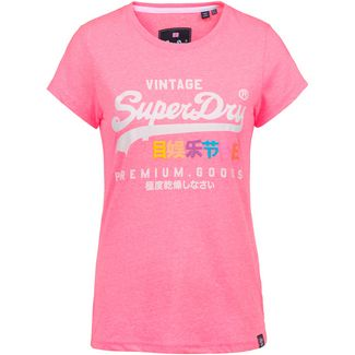 Superdry T-Shirt Damen neon pink snowy
