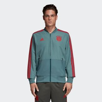 adidas FC Bayern München Präsentationsjacke Sweatjacke Herren Raw Green / Red