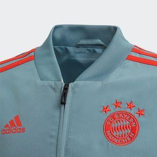 adidas FC Bayern München Präsentationsjacke Sweatjacke Kinder Raw Green / Red