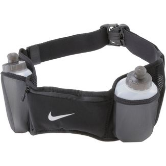 Nike Double Pocket Flask Belt 20oz/600ml Trinkflaschengurt black-black-silver